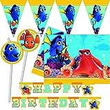 Procos/Carpeta Kit de décoration 52 pièces « Le Finded Dory » pour anniversaire d'enfant et fête à thème | avec nappe, guirlande et ballons etc. | Thème Disney Nemo Dory Pixar