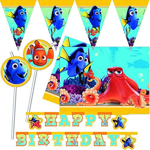 Procos/Carpeta 52-TLG. Deko-Set * FINDET Dorie * für Kindergeburtstag & Mottoparty | mit Tischdecke + Girlande + Ballons u.v.m. | Kinder Motto Disney Nemo Dory Pixar