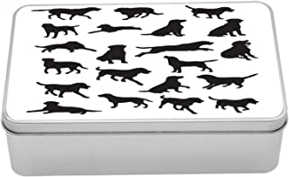 Ambesonne Labrador Metal Box, Black Silhouettes of Pets in Various Positions Friendly Playful Dog Breed, Multi-Purpose Rectangular Tin Box Container with Lid, 7.2
