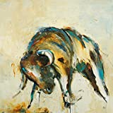 Feeling at home Lienzo-con-AMERICANO-BOX-Toro-Ridgers-Lisa-Animales-Fine-Art-print-on-madera-marco-Cuadrado-24x24_in