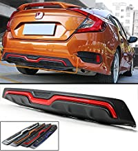 Fits for 2016-2018 Honda Civic 4 door Sedan Carbon Texture Rear Bumper Diffuser With Red Line Accent