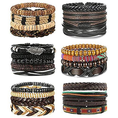 MJARTORIA 24 Stücke Herren Damen Armband Set Lederarmband für Männer Leder Holz Perlen Geflochten Armbänder mit Lebensbaum Feder (Braun)