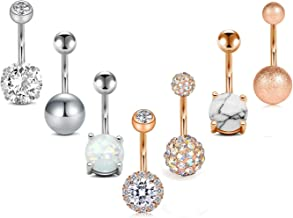 FECTAS Belly Button Rings Surgical Steel for Women Girls Navel Belly Rings Piercing Ring Jewelry Pack Kit 14G