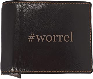 #worrel - Soft Hashtag Cowhide Genuine Engraved Bifold Leather Wallet