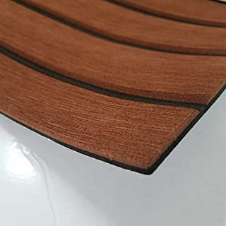 SOOMJ Eva Synthetic Teak Deck Mat Sample, EVA Foam Faux Teak Non-Slip Marine Flooring Mat, Boat Yacht Flooring Synthetic Teak Decking Pad (Brown with Black Lines Sample)