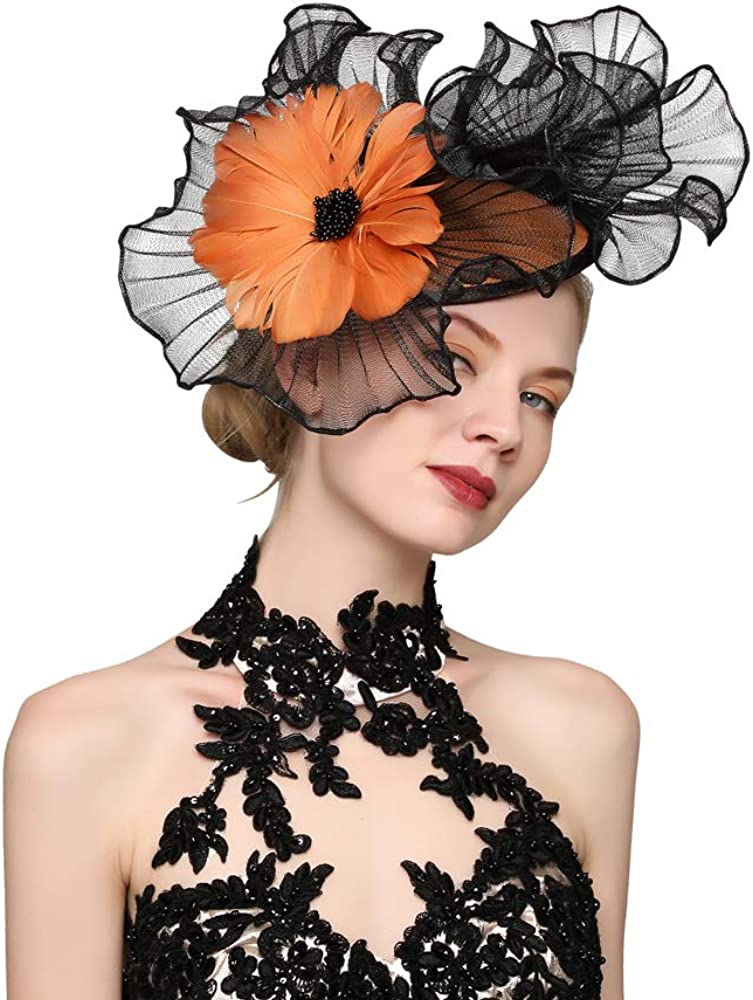 VIMARO Black Fascinator Hats for Women with Colorful Flower, Tea Party Kentucky Derby Hats for Women
