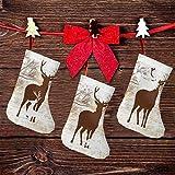 (3 paquetes) calcetines de Navidad de 19 cm, diseño vintage de reno en el bosque, decoración de fiesta de Navidad