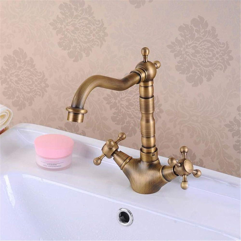 Decorry Waschtischarmaturen Antike Messing Waschbecken Wasserhahn 360 Grad-Schwenker-Tülle Double Cross Griff-Wannenküchenmischbatterien Hj-6711