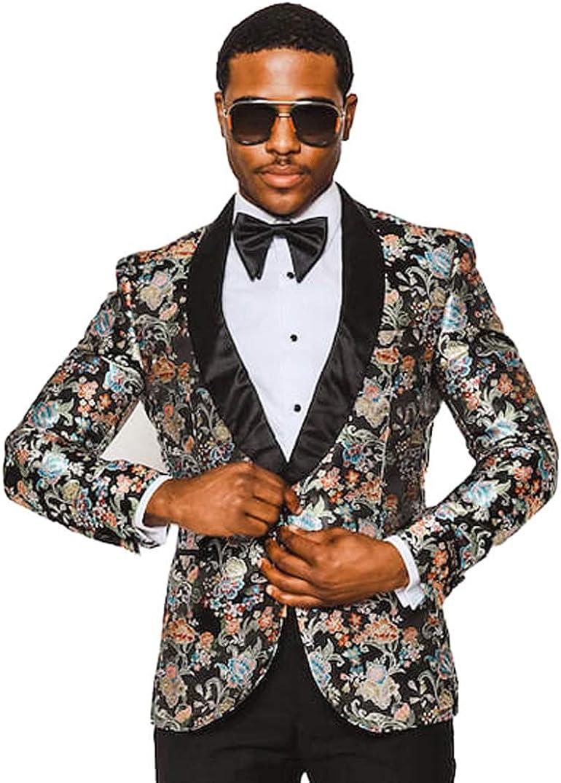 Slim Fit Shawl Laple 1 Button Leapord Multi Color Tuxedo Blazer