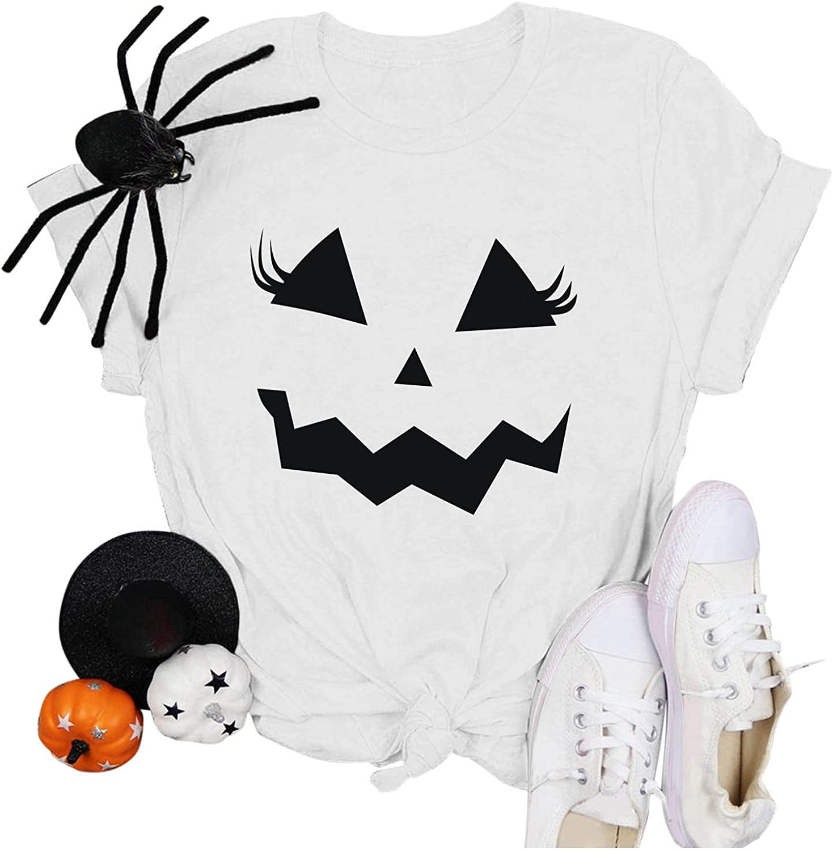 AODONG Halloween T Shirts for Women, Womens Funny Pumpkin Printed Shirts Short Sleeve Graphic Tees Loose T-Shirts Tops