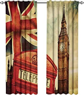 shenglv London, Window Treatments Curtains Valance, Vintage Style Symbols of London with National Flag UK Great Britain Old Clock Tower, Curtains for Living Room, W108 x L108 Inch, Multicolor