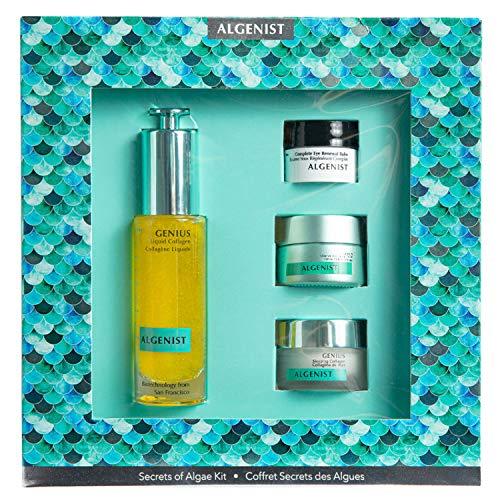 Algenist Secrets of Algae Kit - 4-Piece Skincare Set - Liquid Collagen (30ml), Anti-Aging Cream (15ml), Eye Renewal Balm (7ml), Sleeping Collagen (8ml) - Non-Comedogenic & Hypoallergenic Skincare