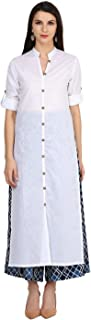Castle White Solid Cotton Kurta With Printed Palazzo