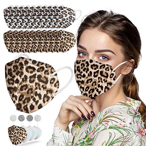 NIMIZIA 10/50/100 Stück Erwachsene Mundschutz,5 Lagige Schutz_Maske Mund und Nasenschutz,Leopard Druck Staubdicht Mund-Nasen Bedeckung Atmungsaktiv Wiederverwendbar Bandana für Damen Herren