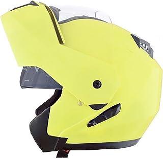 CRUIZER Casco Moto Modular doble visera alta visibilidad homologado ece22–05Scooter Parasol integral, Amarillo, talla L