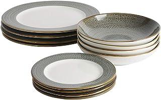 ProCook Napa - Vaisselle de Table en Porcelaine Blanche - 12 Pièces/Pour 4 Personnes - Petite Assiette, Grande Assiette, A...
