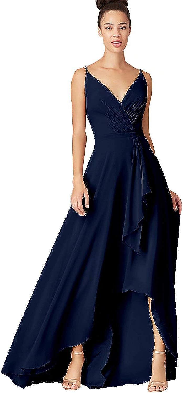 Yuxin Long V Neck Bridesmaid Dresses Women Hi-Lo Spa Chiffon for free shipping Recommendation