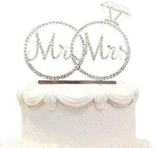 Hatcher lee Mr & Mrs Cake Topper for Wedding Anniversary Rings Crystal Rhinestone Party Decoration (Silver)