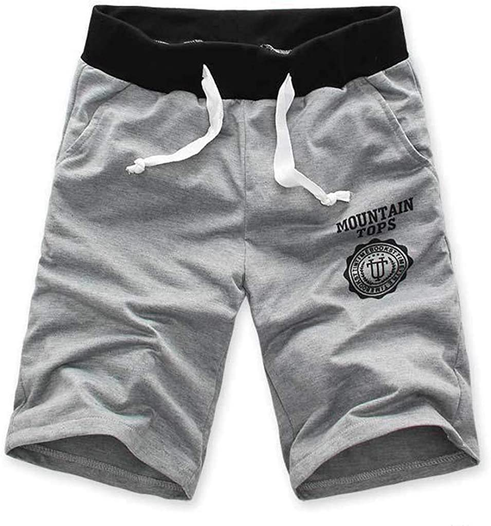 PHSHY Mens Short Pants Summer Elastic Waist Drawstring Casual Workout Gym Sport Joggers Trousers with Pocket M-3XL