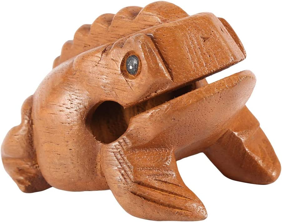 DEWIN Wooden Frog NO.1 5.8CM Thailand Frog Lucky Frog Thailand Traditional Craft Wooden Lucky Frog Croaking Musical Instrument Home Office Decor