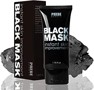 Phebe Black Mask Blackhead Remover Purifying Peel Off Mask Activated Charcoal Mask Deep Cleansing Acne removal Nose Face Pore Cleaner 1 Tube(1.76 fl oz)