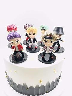 کیک BTS topper fingure مجموعه شخصیت ها از اکشن شکل اسباب بازی برای لوازم جشن تولد برای 7