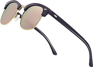 Polarized Sunglasses for Men Women Semi Rimless Classic Half Frame Retro Sun Glasses