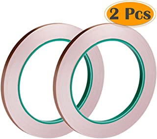 Selizo 2 Pack Copper Foil Tape with Conductive Adhesive for EMI Shielding, Slug Repellent, Paper Circuits, Electrical Repairs, Grounding