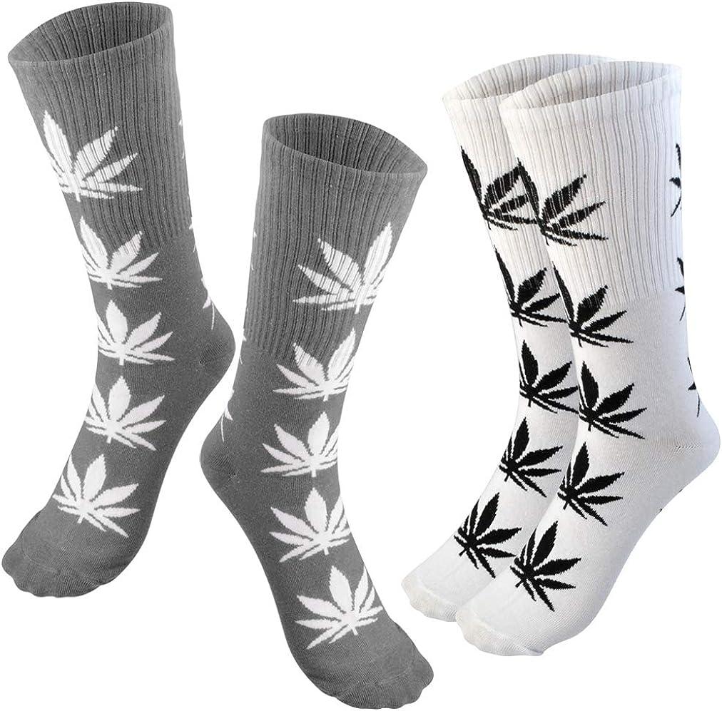Lystaii 5 Pairs Weed Leaf Printed Cotton Socks Unisex Maple Leaf Printed Socks