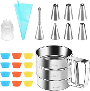 Cake Decorating Kits 22Pcs Baking Accessories, Lychee Cupcake Tool with Flour Sifter, Pastry Bag, Piping Nozzle Tip, Plast...