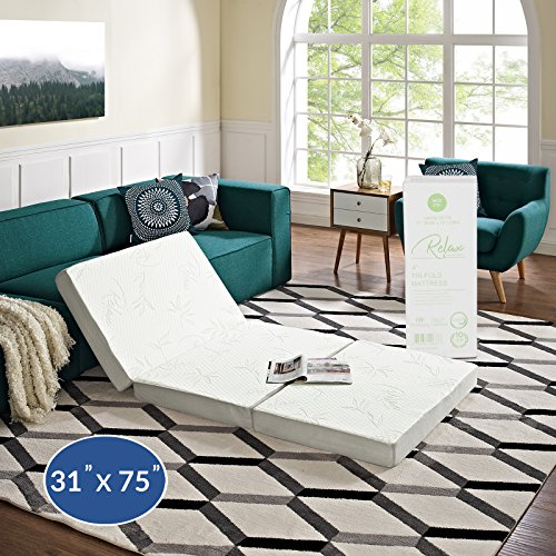 "Modway 4"" Relax Tri-Fold Mattress Topper CertiPUR-US Certified with Soft Removable Cover (31'x75')"