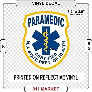 New Jersey NJ Paramedic Reflective Decal Emergency Medical EMT-P Sticker - R 55