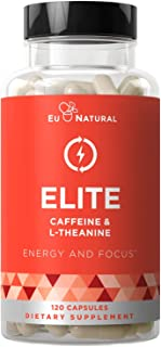 Elite Caffeine with L-Theanine – Jitter-Free Focused Energy Pills – Natural Nootropic Stack for Smart Cognitive Performanc...
