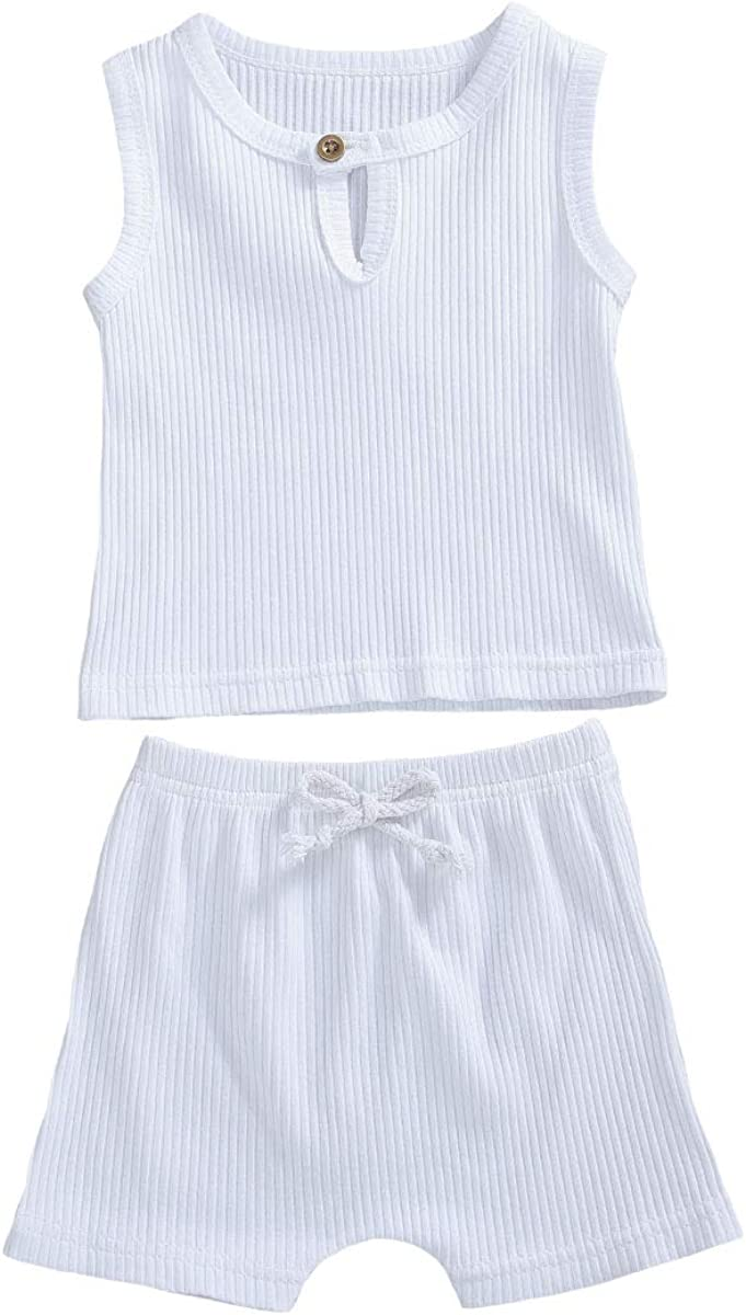 Newborn Baby Boys Outfit Solid Col Max 77% OFF Round Sleeveless Ribbed Color Columbus Mall