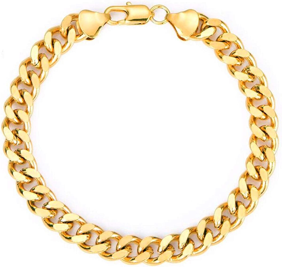 Men's Courier shipping free Yellow Gold Plated New popularity 9mm Cuban Bracelet 8inc Chain Curb Link