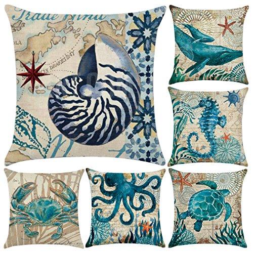 6Pack Baumwolle Leinen Mediterraner Stil, Baumwollleinen, ocean Thema Kissenbezug Dekorative, quadratisch 45,7x 45,7cm (nur Bezug, ohne Einsatz) Sea Theme 1