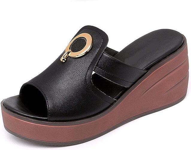 GTVERNH Chaussures Femmes Muffin épais Bas Pantoufles Summer Mode Usure Plage