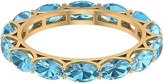 Anillo de aguamarina de corte ovalado de 5 x 3 mm, de corte ovalado, anillo de boda para ella (calidad AAAA), oro de 10 qu...