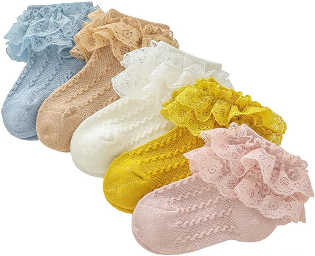 Colorful Childhood Baby-Girls Eyelet Ruffle Lace Socks Toddler Double Lace Dressy Short Socks Newborn/Infants