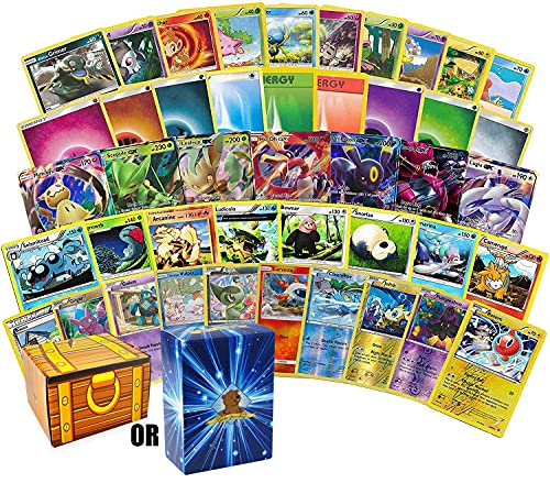 200 Assorted Pokemon Cards - 3 GX Ultra Rares, 4 Rare Cards, 3 Holographics, 90 Common/Uncommons, and 100 Energy Cards - Includes Golden Groundhog Treasure Chest Storage Box
