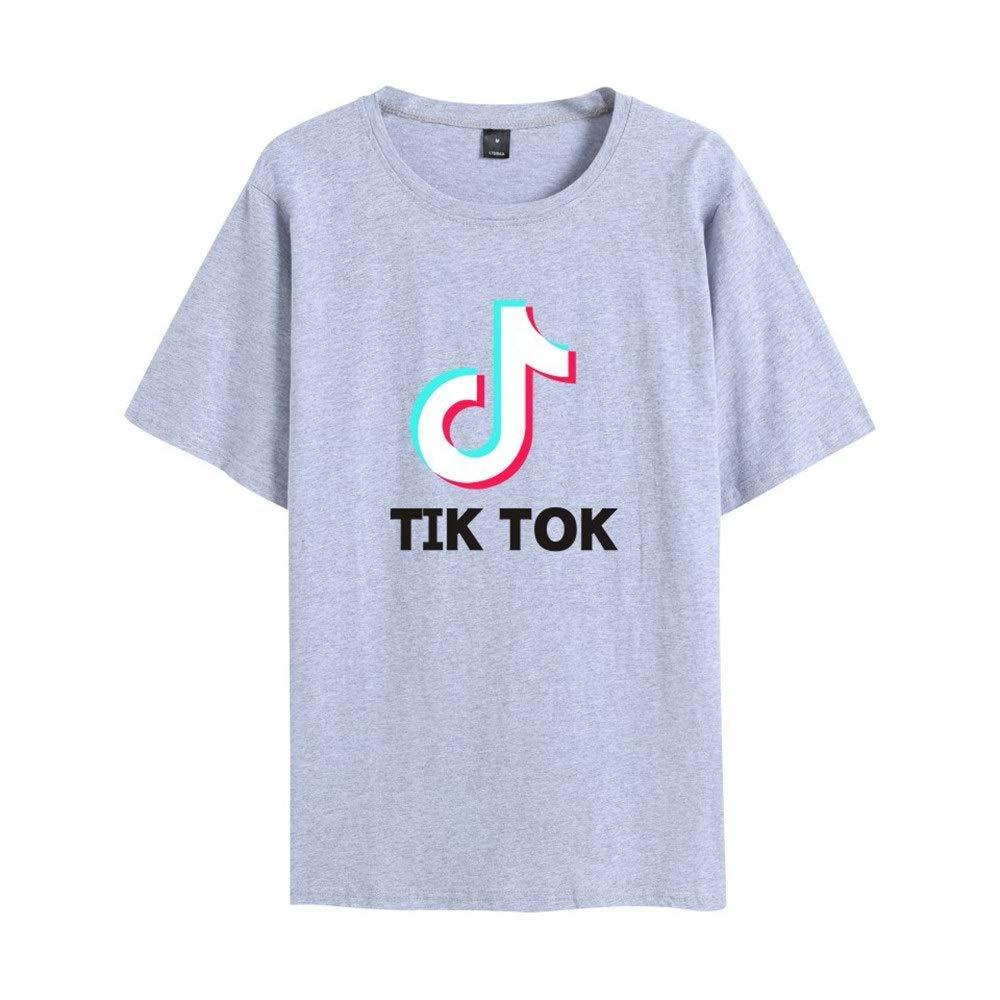 LBTIAN TIK Tok T Unisex Ocasional de la Camisa de Manga Corta Cuello Redondo de impresión Tops Deporte Jumper (Color : D, Size : XS): Amazon.es: Deportes y aire libre
