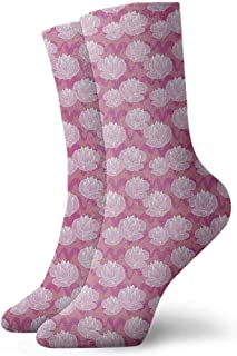 Sock for Male Party Gifts Lotus,Sacred Flower Arrangement Japanese Folklore Waterlilies on Swirled Backdrop,Pink Coral Pale Pink,socks men pack low cut