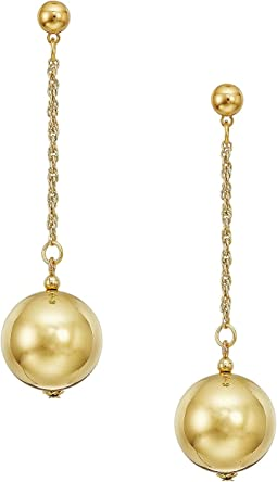 "20mm Polished Gold Ball 1.5"" Chain With Ball Top Post Earrings"