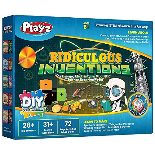 Playz Ridiculous Inventions Science Kits for Kids - Energy, Electricity & Magnetic Experiments Set - Build Electric Circuits, Motors, Telegraphic Messages, Robotics & More Kids Educational Toys