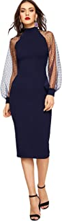 Women's Mock Neck Long Mesh Sleeve Zipper Back Sheath Dress