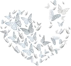 YOYOSO 96 PCS Butterfly Wall Decals Sticker Wall Decal Decor - 3D Hollow Silver Butterflies Decor for Wall Removable DIY A...