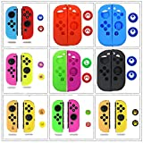 Thumb Grips Joystick Cap Cover Soft Silicone Protective Skin Case for Nintendo Switch Joy-Con (Yellow+Brown 2#)