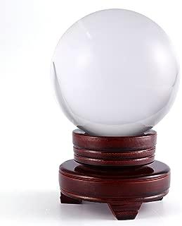SurePromise Clear Crystal Ball Asian Natural Quartz Magic Healing Stress Meditate Wooden