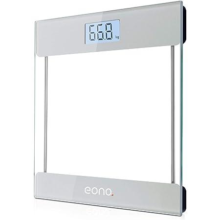 Eono by Amazon - Bilancia Pesapersone Digitale, con sensori ad alta precisione e vetro temperato ultrasottile,display retroilluminato, peso in kg/lb/st