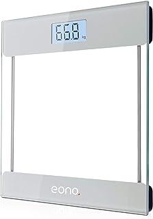 Eono by Amazon - Báscula de Baño Digital ultrafina de vidrio templado para el baño con sensores de alta precisión, tecnología